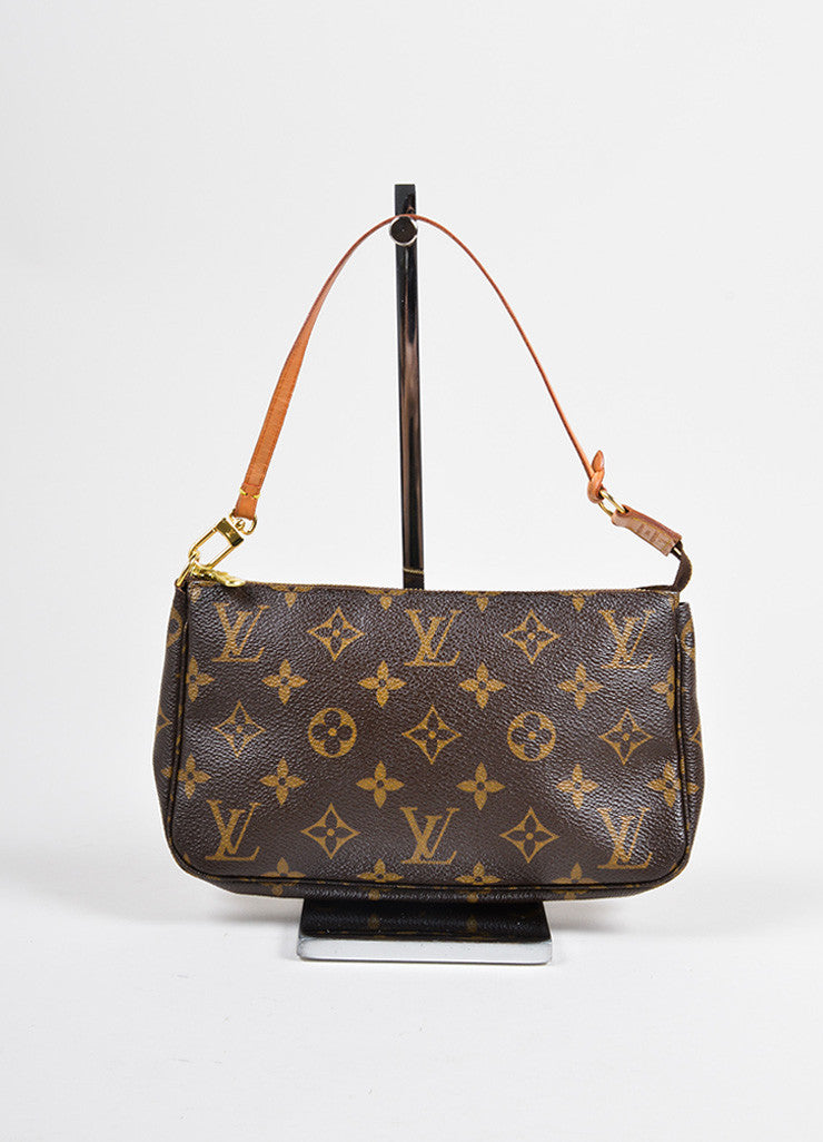 Louis Vuitton Brown Coated Canvas and Leather Monogram Pochette Bag Frontview