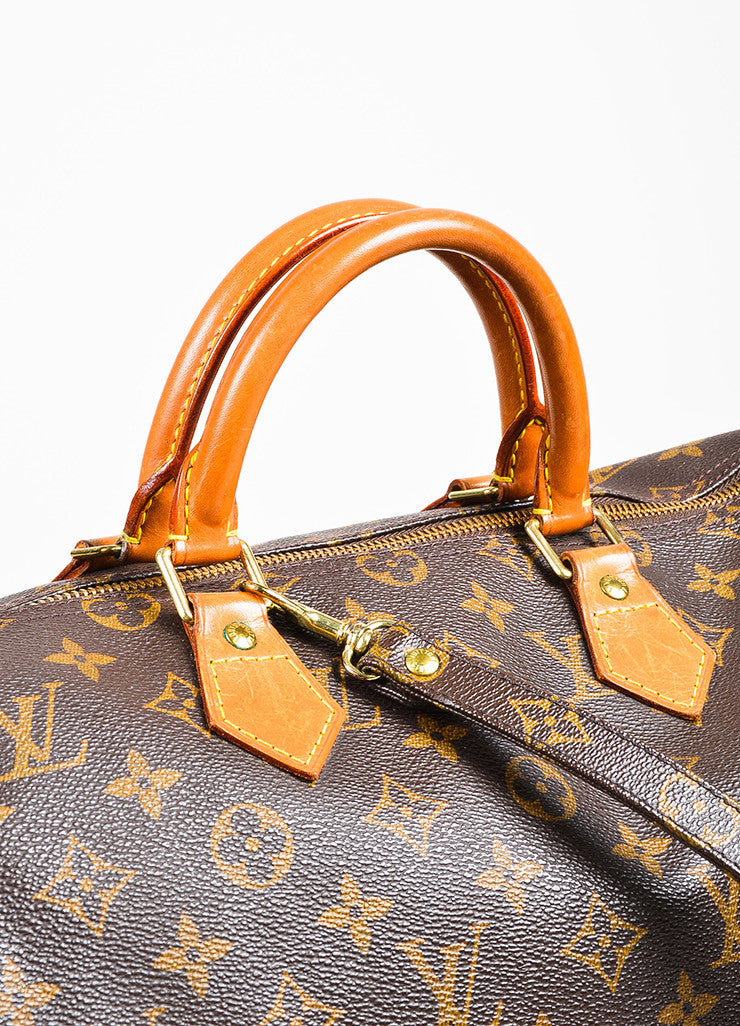 "Louis Vuitton Brown and Tan Coated Canvas Leather Monogram ""Speedy 35"" Bag Detail 2"