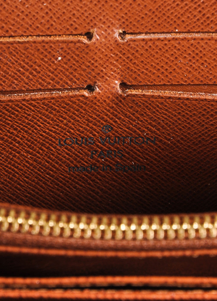 Louis Vuitton Brown and Tan Coated Canvas Monogram Rectangular Zip Wallet Brand