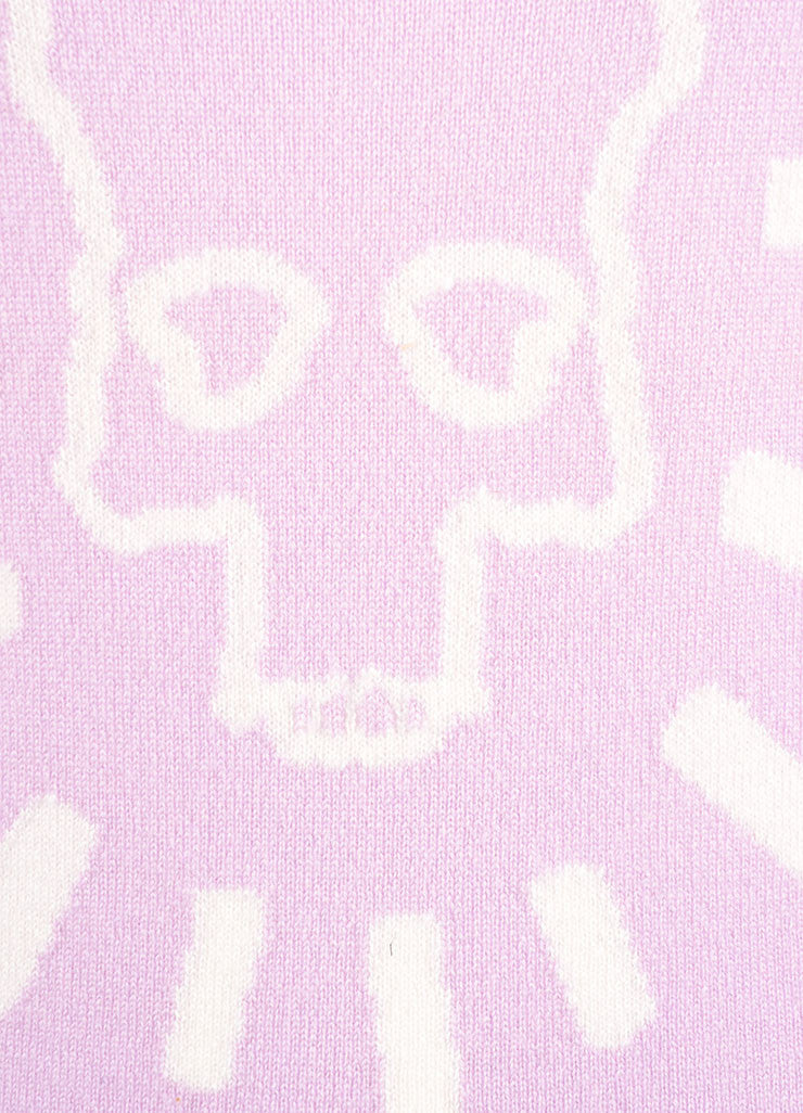 Lucien Pellat-Finet New With Tags Lavender Purple Cashmere Skull Sweater Detail