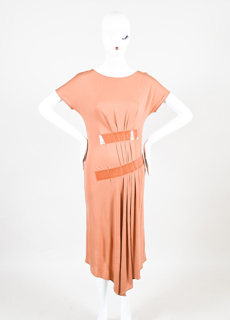 Maison Martin Margiela Coral Short Sleeve Pleated Detail Dress Frontview