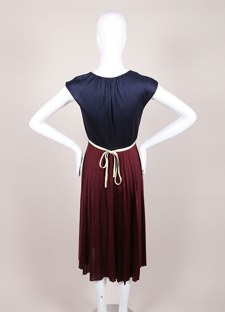 Marc Jacobs New With Tags Navy and Maroon Color Block Pleated Silk Jersey Dress Backview