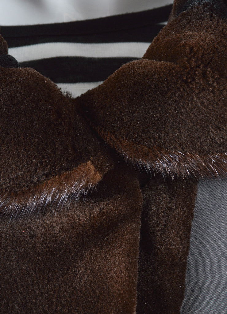 Maximilian Alta Moda Brown Sheared Mink Reversible Coat Detail 1