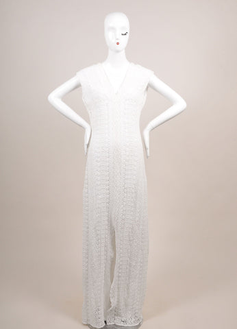 Miguelina New With Tags White and Violet Lace Maxi Dress Frontview