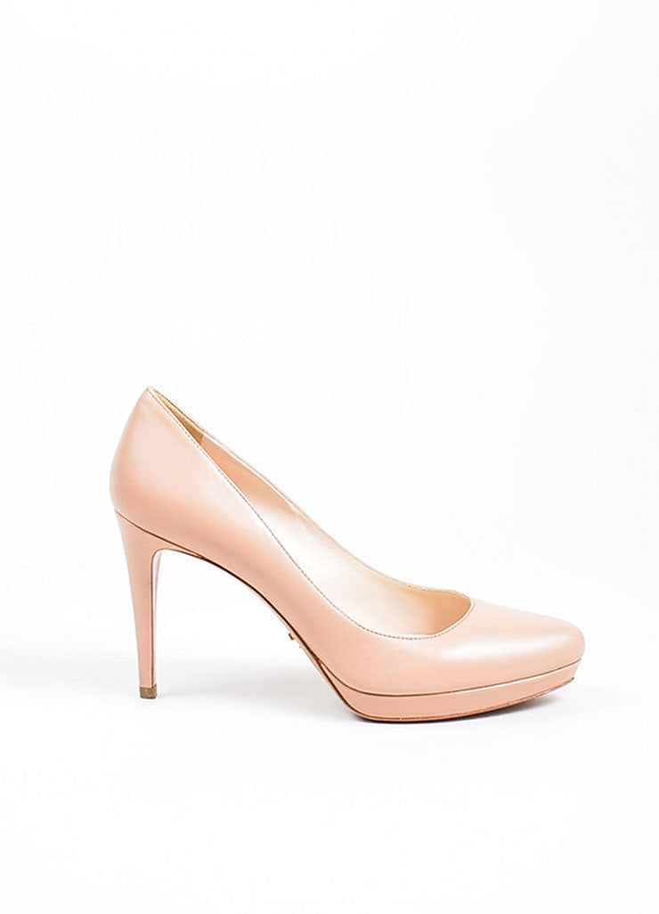Nude Beige Prada Leather Almond Toe Stiletto Pumps Sideview