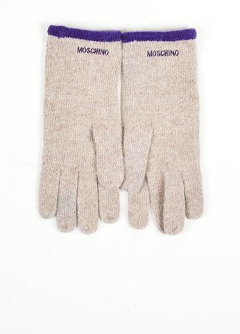Grey and Purple Moschino Lambswool and Angora Blend Peace Sign Winter Gloves Frontview
