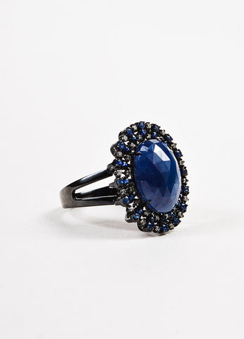 18k Blackened Gold Sapphire Pave Diamond Oval Cocktail Ring Sideview