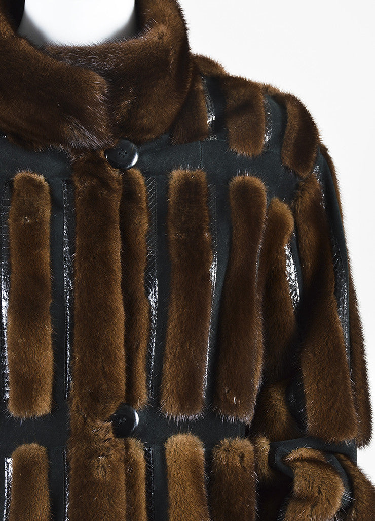 Neiman Marcus Brown and Black Mink Fur and Suede Snakeskin Trim Coat Detail