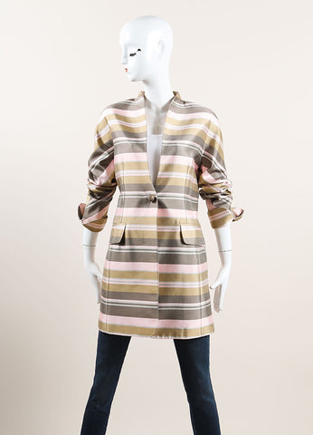 Nina Ricci Grey, Pink, and Multicolor Satin Knit Striped Coat Frontview