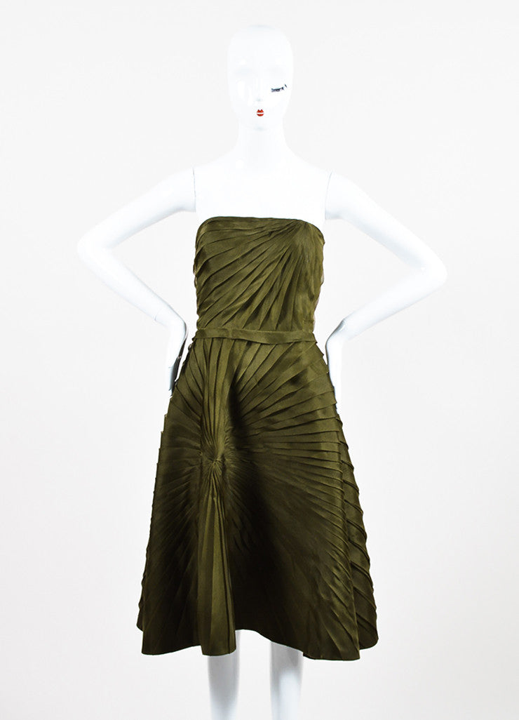 Oscar de la Renta Olive Green Silk Chiffon Tiered Pleated Strapless Dress Frontview
