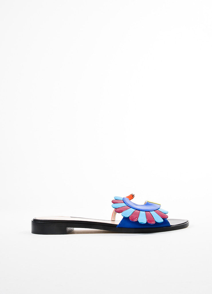 "Paula Cademartori Black Multicolor ""Lotus"" Open Toe Mule Sandals Side"