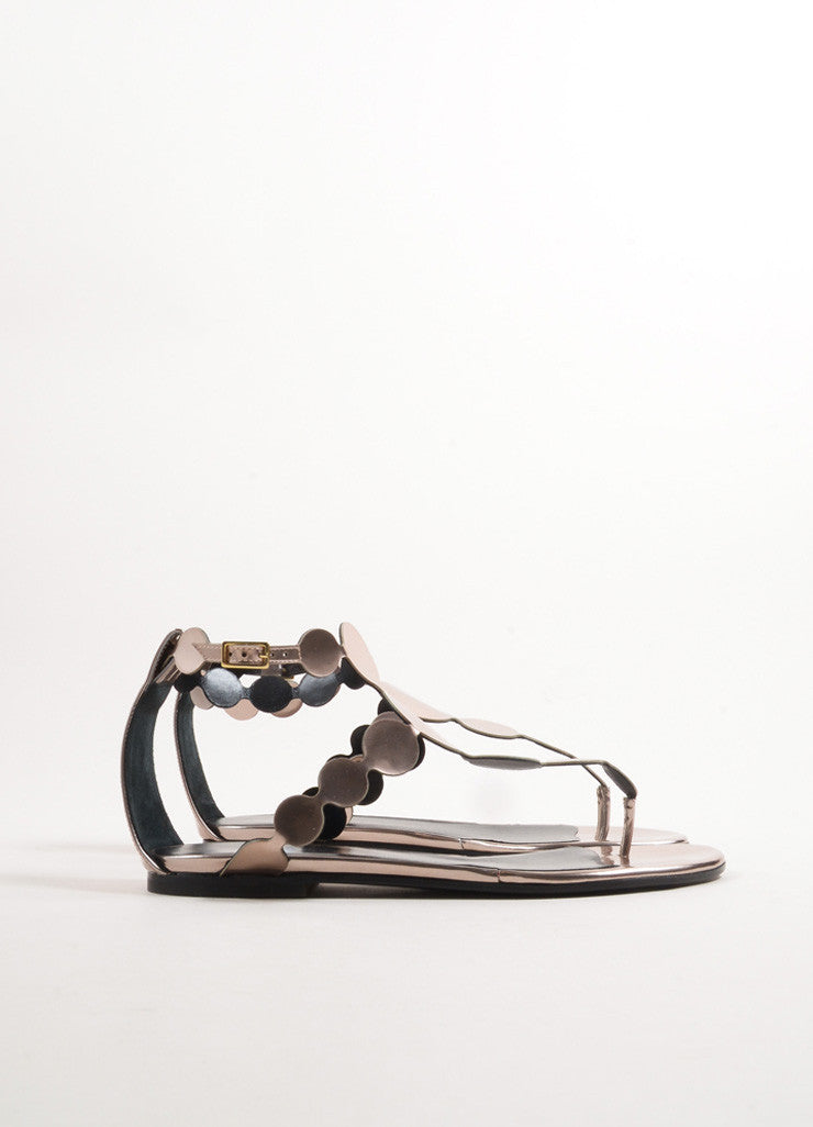 Pierre Hardy Champagne Calf Leather Metallic Circle Flat Sandals Sideview