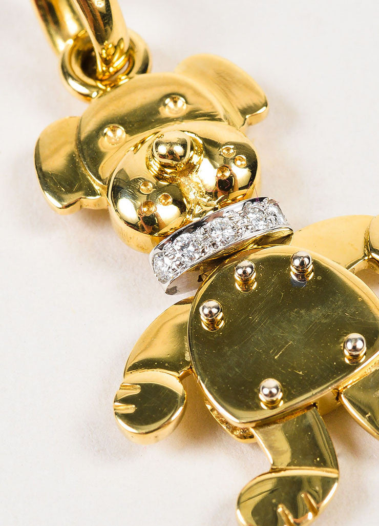 Pomellato 18K Yellow Gold and Diamonds Animated Dog Pendant Charm Detail
