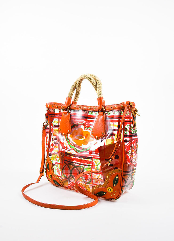 "Orange and Multicolor Prada Leather and PVC Floral Crossbody ""Plex Stampato"" Tote Bag Backview"