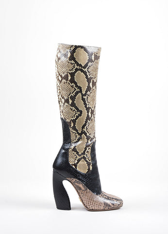 Beige, Black, and Pink Prada Python Curved Heel Side Zip Tall Boots Sideview