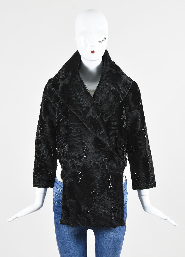 Prada Black Lamb Fur Embellished Shawl Lapel Evening Jacket Frontview 2