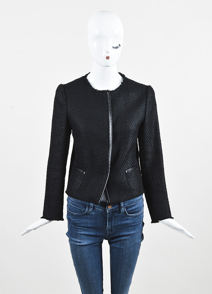 Prada Black Wool Woven Knit Leather Trim Fringe Blazer Jacket Frontview 2