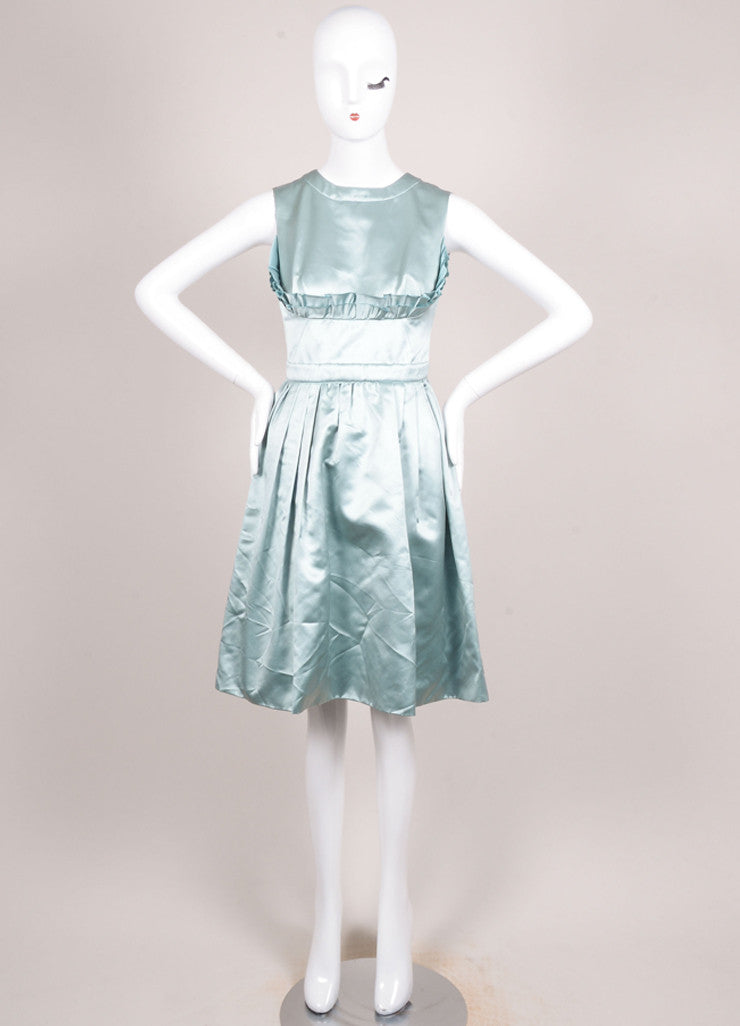 Prada Green Silk Satin Ruffle Trim Sleeveless Dress Frontview