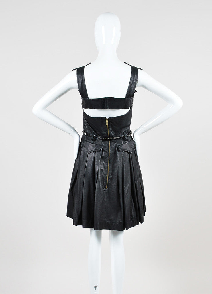 "Preen Line ""Simone"" Black Leather Pleated Belted Overall Dress Backview"