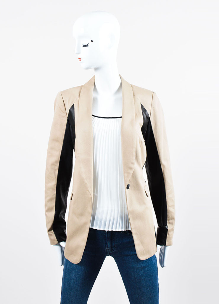 "Tan and Black Rag & Bone ""Jefferson"" Cotton and Leather Contrast Blazer Frontview"