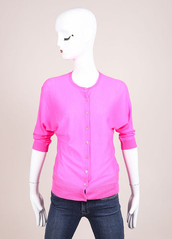 Ralph Lauren Black Label Hot Pink Cashmere Crop Sleeve Sweater Cardigan Frontview