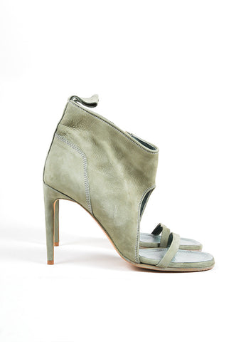 Rick Owens Sage Green Suede Open Toe Heeled Booties Sideview