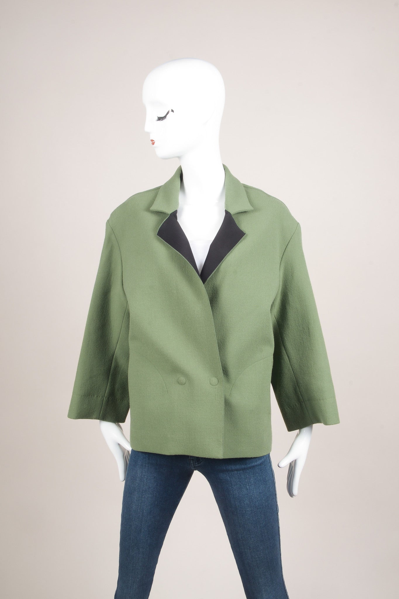 Roland Mouret Green Wool Knit Magnetic Button Oversized Jacket Frontview