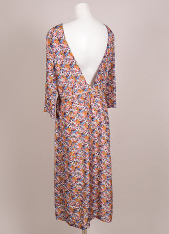 "New With Tags Multicolor Floral Print Three Quarter Sleeve V Back ""Anika"" Silk Dress"