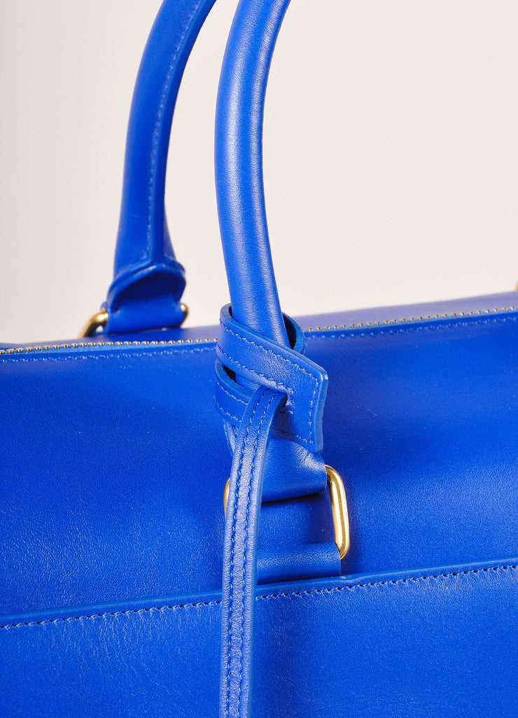 "Saint Laurent New With Tags Royal Blue Leather ""Classic Duffle 6"" Bag Detail 2"