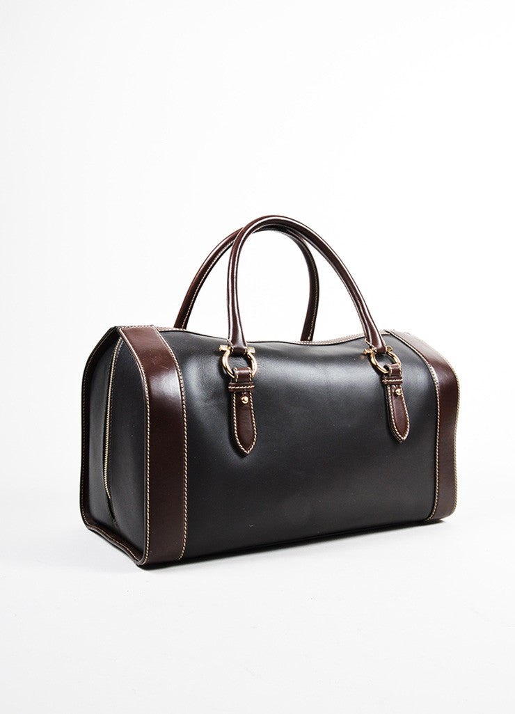 Black and Brown Salvatore Ferragamo Bicolor Leather Horseshoe Detail Duffle Bag Sideview