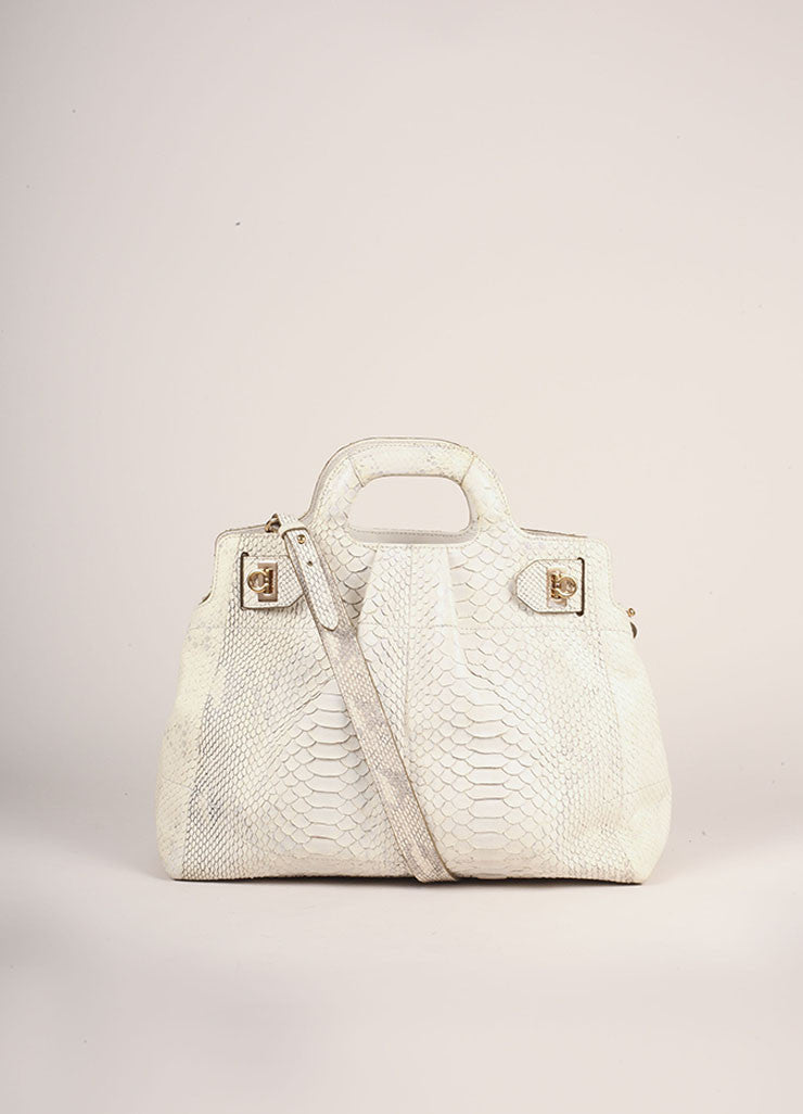 Salvatore Ferragamo Cream Snakeskin Leather Top Handle Tote Bag Frontview