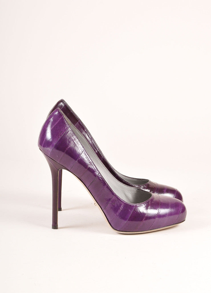 Sergio Rossi Purple Eel Leather Embossed Platform Pumps Sideview