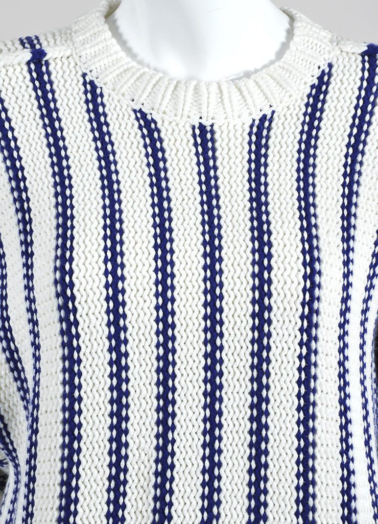 Cream and Navy T by Alexander Wang Chunky Knit Striped Sweater Detail