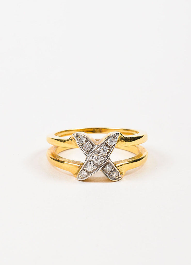 18K Yellow Gold and Diamond X Criss Cross Split Shaft Ring Frontview