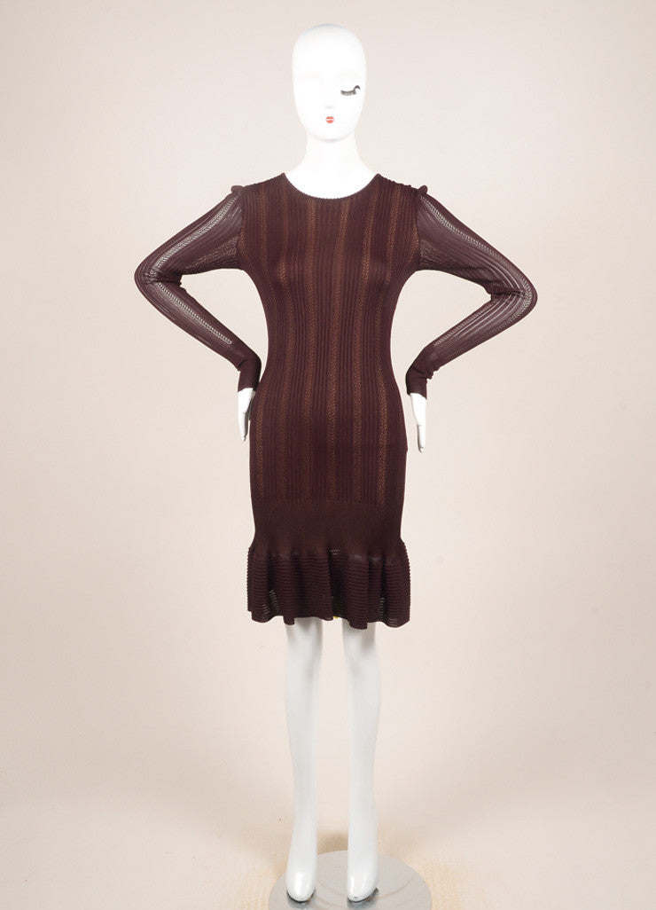 Alaia Burgundy Knit Long Sleeve Stretch Flounce Dress Frontview