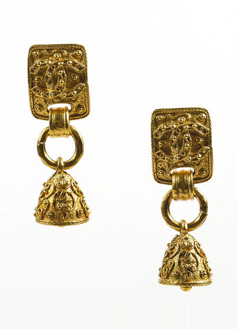 Gold Toned Chanel Beaded Texture 'CC' Logo Bell Clip On Drop Earrings Frontview