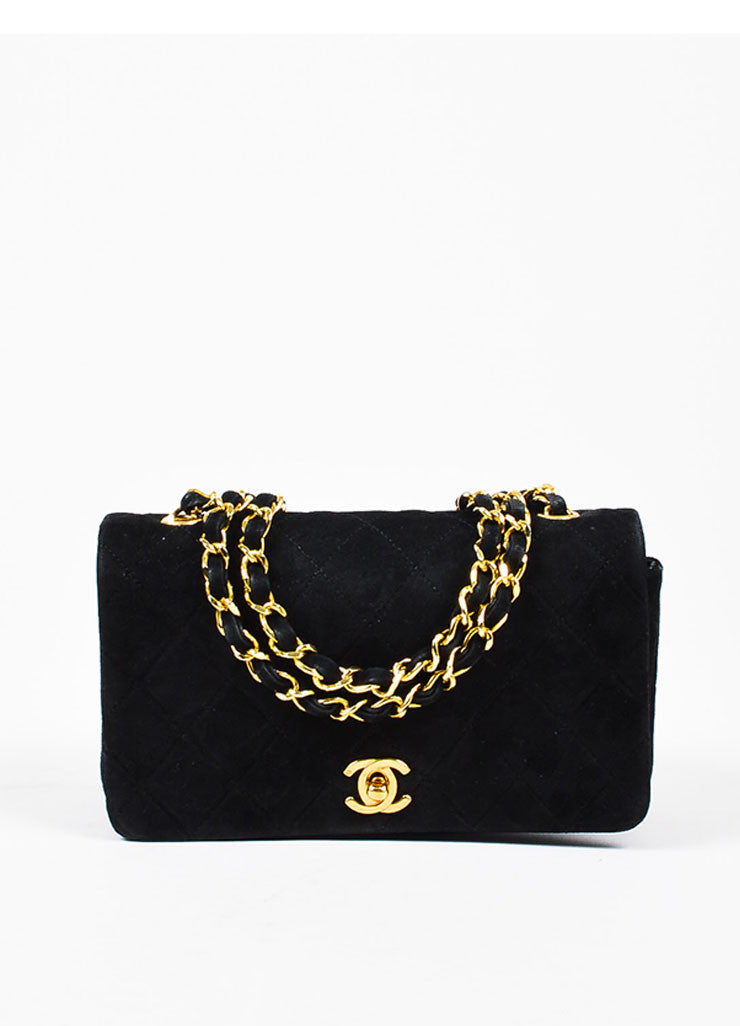 Chanel Black Suede Cross Body 'CC' Twist Lock Quilted Mini Flap Bag Frontview