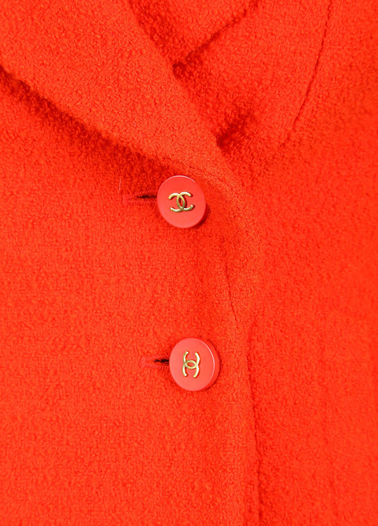 Chanel Orange Boucle Skirt Suit Detail