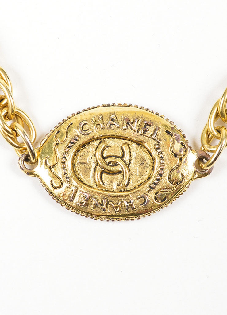 Gold Toned Chanel 'CC' Oval Pendant Chain Necklace Detail 2