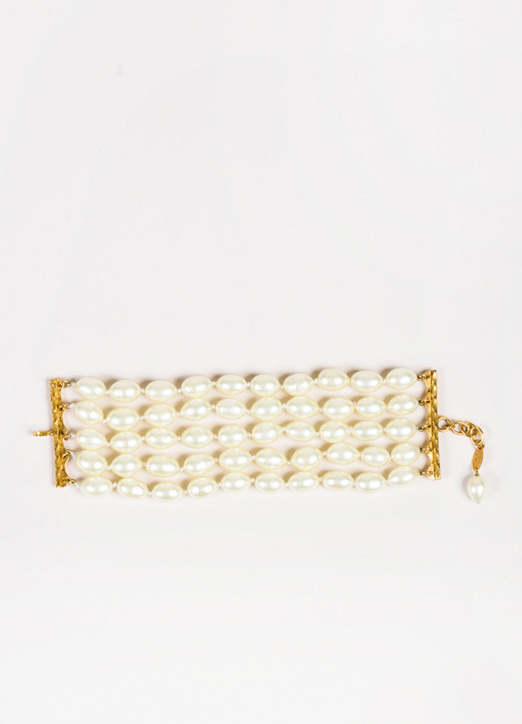 Chanel Gold Toned Cream Faux Pearl Embellished Multi Strand Bracelet Front 2
