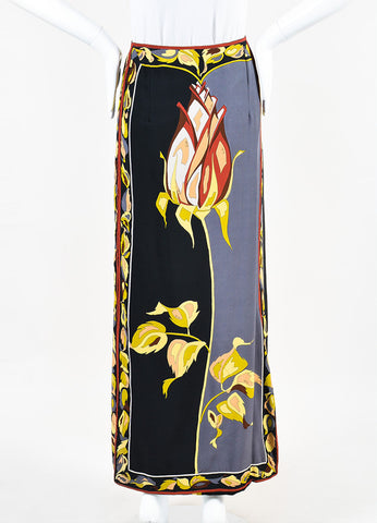 Emilio Pucci Black and Grey Silk Rose Print Column Maxi Skirt Frontview