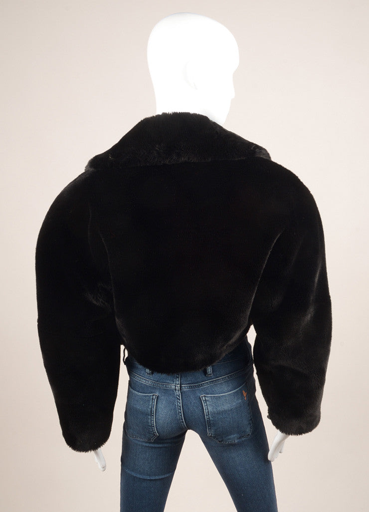 Lolita Lempicka Black Faux Fur Cropped Jacket Backview