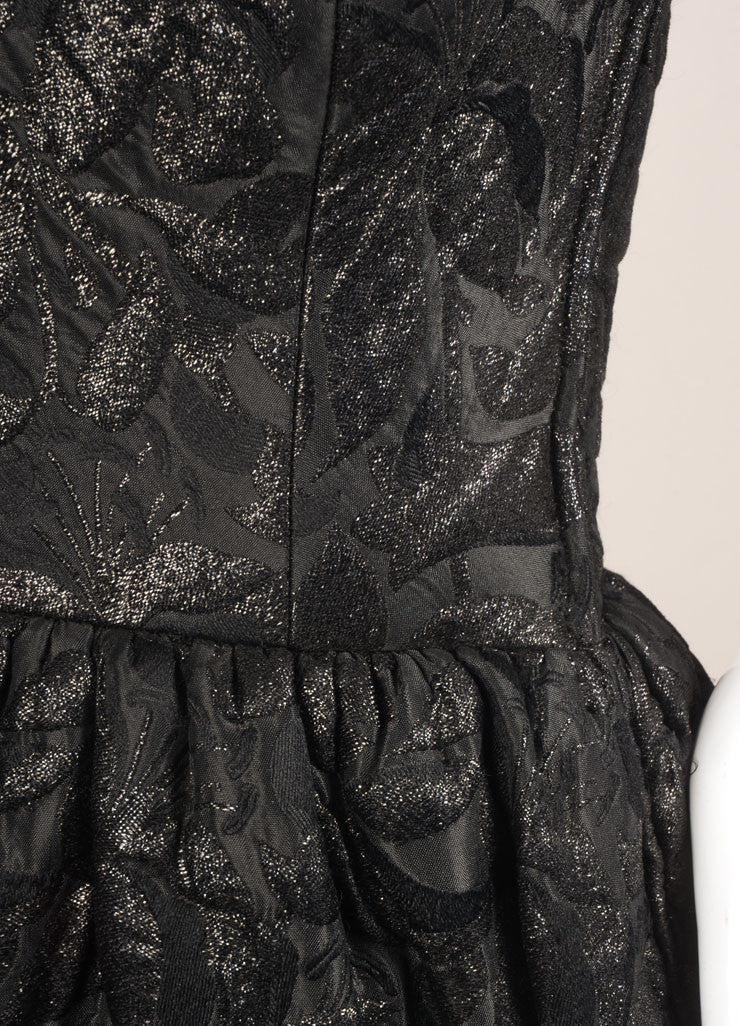 Norman Norell Black Textured Brocade Full Length Sleeveless Gown Detail