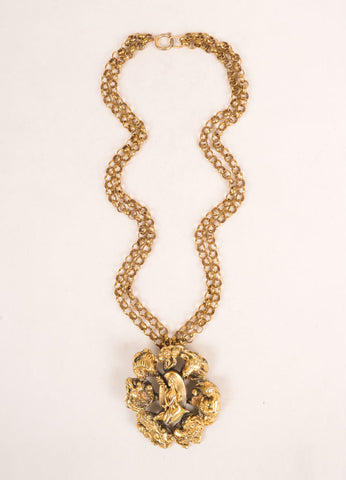 Tortolani Dark Gold Toned Chunky Zodiac Pendant Double Chain Necklace Frontview