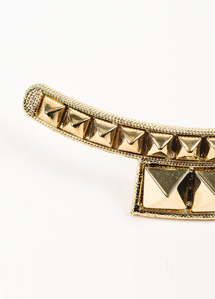 "Gold Toned Valentino Metal Pyramid ""Rockstud"" Collar Necklace Detail 2"