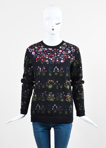 "Black and Multicolor Valentino Floral ""Primavera"" Pullover Sweater Frontview"