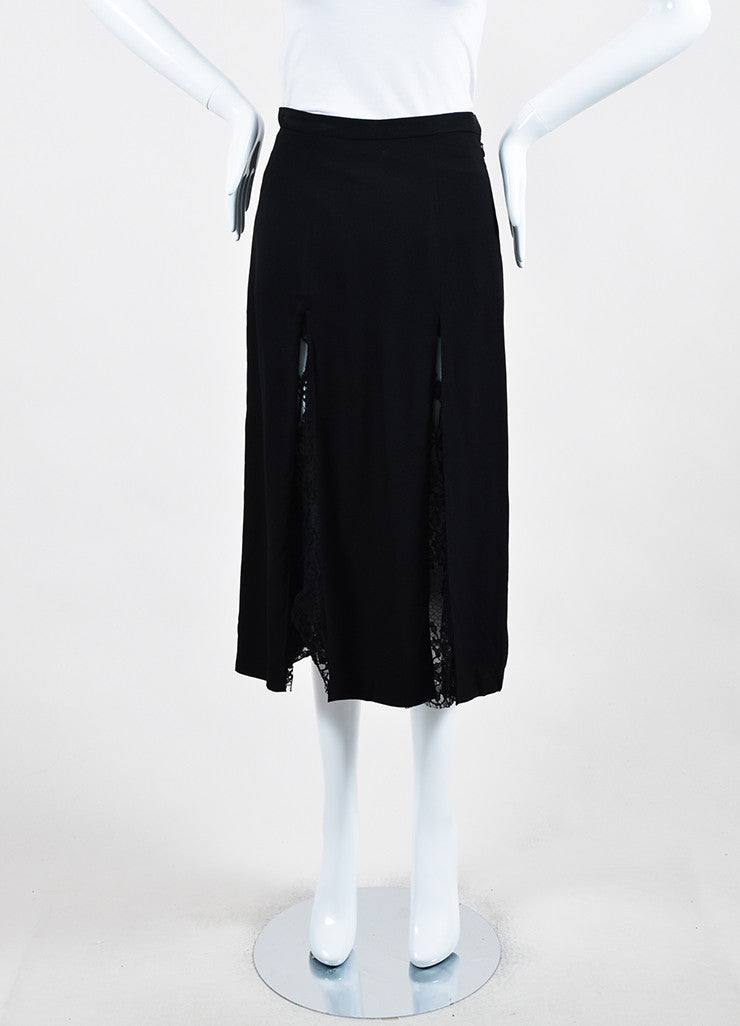 Wes Gordon Black Crepe Sheer Lace Paneled and Layered Slit Midi Skirt Frontview