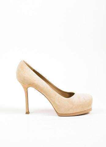 "Beige Suede YSL Yves Saint Laurent ""Tribtoo 80"" Pumps Side"