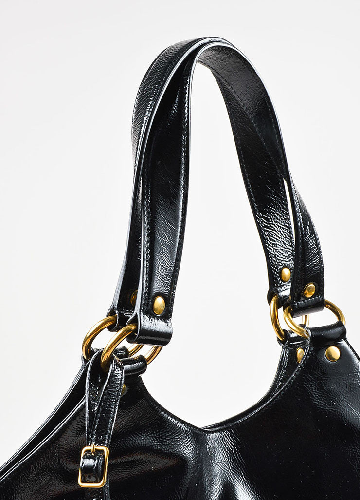 "Yves Saint Laurent Black Patent Leather ""Tribute"" Tote Bag Detail 2"
