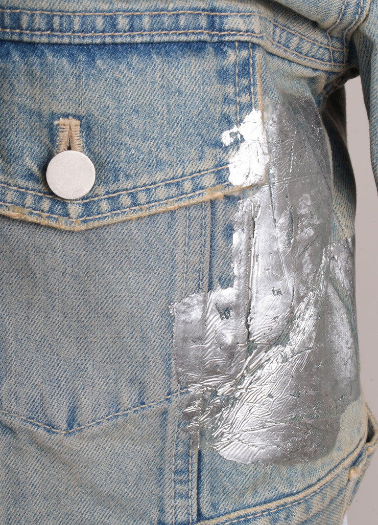 New With Tags Washed Denim Jacket With Metallic Accents